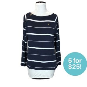 5/$25 - Tommy Hilfiger Striped Long Sleeve Shirt L